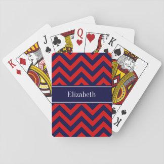 Rouge, monogramme de nom de bleu marine jeu de cartes