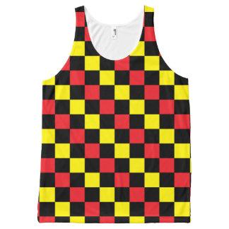 Rouge, noir Checkered et jaune Débardeur Tout-imprimé