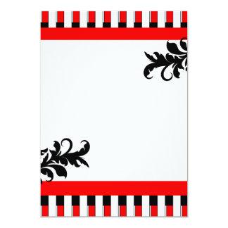 Rouge-Noir et blanc barre l'invitation Carton D'invitation 12,7 Cm X 17,78 Cm
