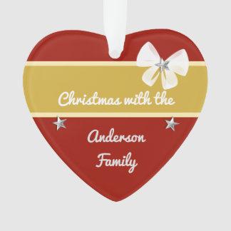Rouge personnalisé et or de Noël de nom de famille