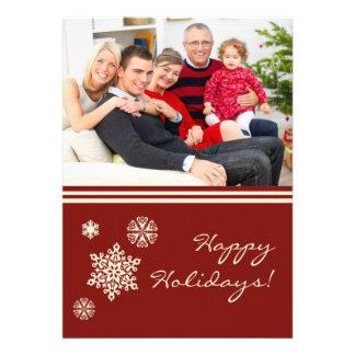 Rouge plat de carte de vacances de famille de floc