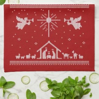 Rouge religieux de Noël de nativité laide de Linge De Cuisine
