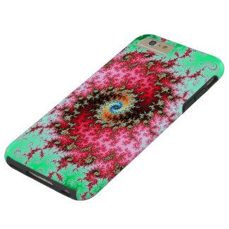 Rouge sur la double spirale verte de fractale coque iPhone 6 plus tough