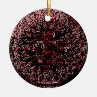Rouge tribal d'effet ornement rond en céramique