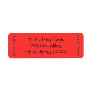 Rouge vertical de flocons de neige - étiquette de