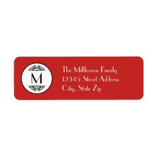 Rouge vintage de monogramme - étiquette de adresse