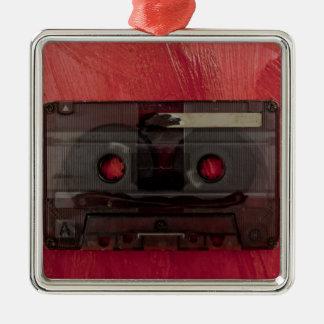 Rouge vintage de musique d'enregistreur à ornement carré argenté