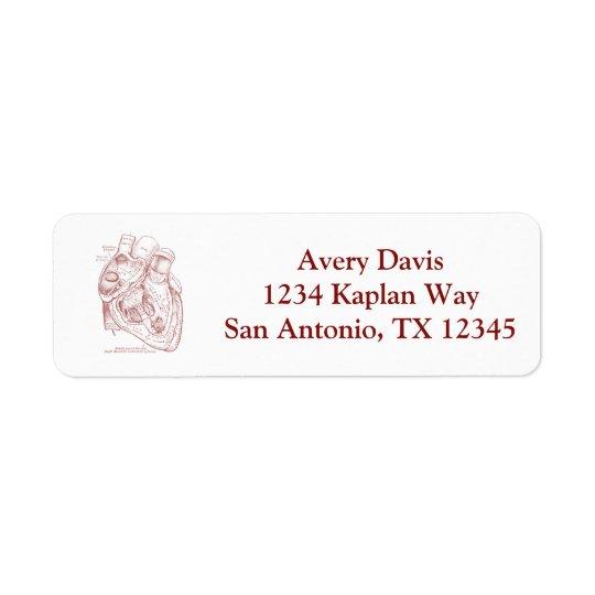Rouge vintage humain de coeur d'anatomie étiquette d'adresse retour
