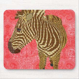 Rouge vintage Mousepad de zèbre Tapis De Souris