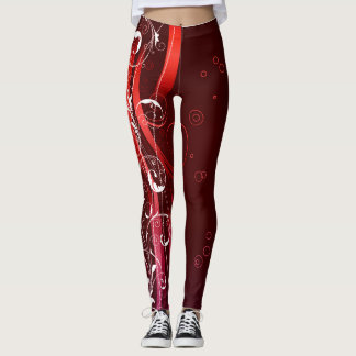 Rouges abstraits et blanc leggings