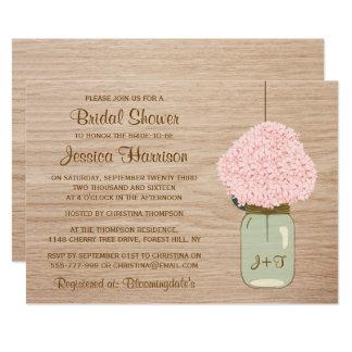 Rougissent douche nuptiale rose de pot d'hortensia carton d'invitation  12,7 cm x 17,78 cm