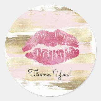 Rougissent et l'autocollant de Merci de lèvre d'or Sticker Rond