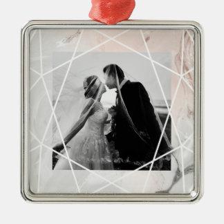 Rougissent et le marbre gris avec la photo | ornement carré argenté