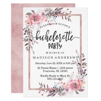 Rougissent et l'invitation rose de partie de carton d'invitation  12,7 cm x 17,78 cm