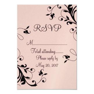 Rougissent la perle noire rose de remous épousant carton d'invitation 8,89 cm x 12,70 cm