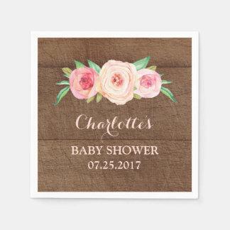 Rougissent le baby shower en bois floral serviette jetable