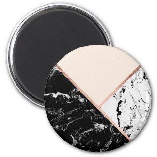 Rougissent le bloc rose de couleur d'or de marbre magnet rond 8 cm