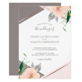 Rougissent le faire-part de mariage rose de fleurs