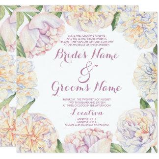 Rougissent le mariage floral en pastel d'aquarelle carton d'invitation  13,33 cm
