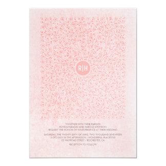 Rougissent le mariage vintage floral élégant rose carton d'invitation  12,7 cm x 17,78 cm
