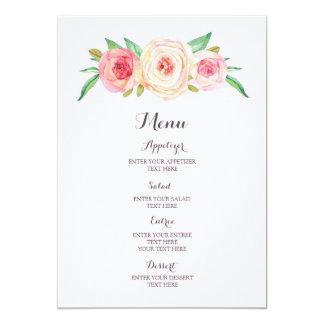 Rougissent le menu rose de mariage d'aquarelle carton d'invitation  12,7 cm x 17,78 cm