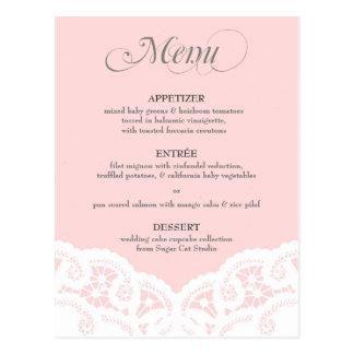 Rougissent le menu rose de mariage de napperon de  carte postale