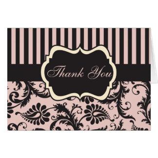 Rougissent le rose, crème, carte de remerciements