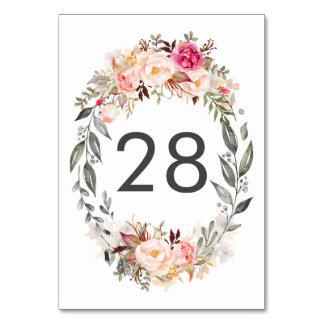 Rougissent les cartes florales roses de nombre de