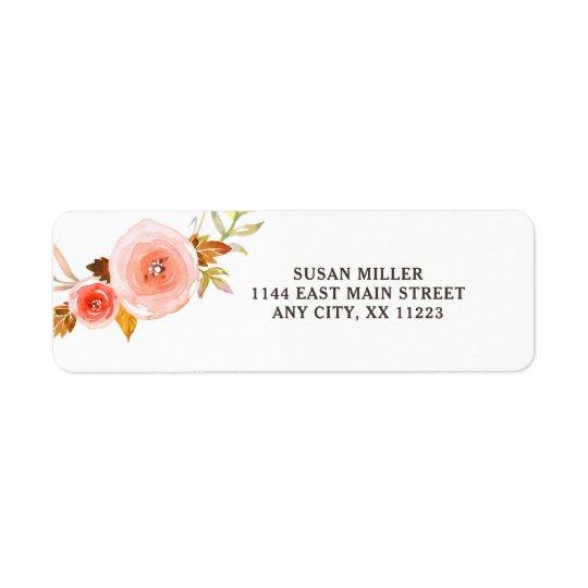 Rougissent l'étiquette de adresse de retour floral étiquette d'adresse retour