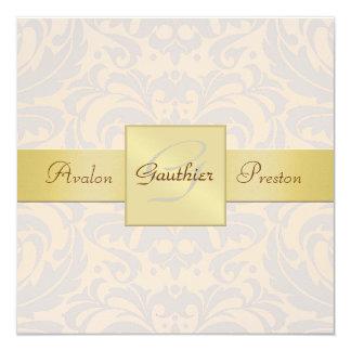 Rougissent l'invitation de ruban d'or de carton d'invitation  13,33 cm