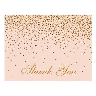 Rougissent Merci de mariage de confettis de rose Cartes Postales