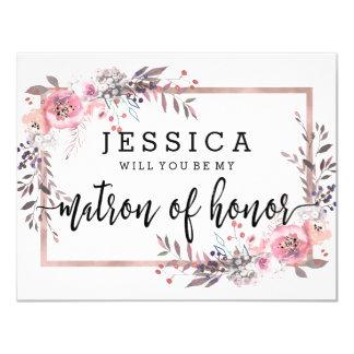 Rougissez et or rose vous serez ma dame de honneur carton d'invitation 10,79 cm x 13,97 cm