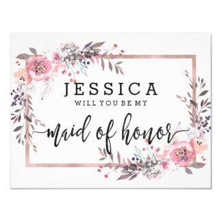 Rougissez et or rose vous serez ma domestique carton d'invitation 10,79 cm x 13,97 cm