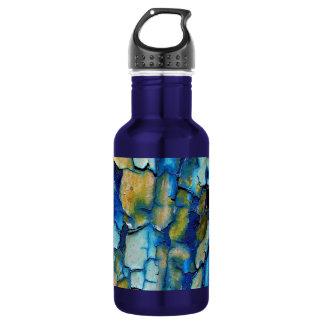 Rouille bleue, et or ébréchant la peinture bouteille d'eau