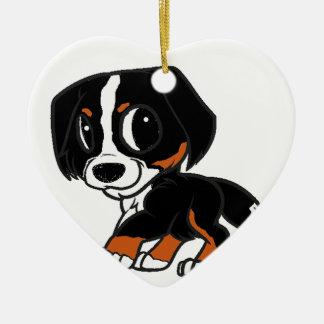 rouille de bande dessinée de chien de montagne ornement cœur en céramique