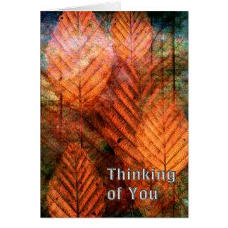 Rouille et pensée verte de feuille cartes de vœux
