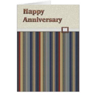 Rouille et rayures bleues avec l'anniversaire de carte de vœux