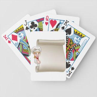 Rouleau de menu de chef de femme de bande dessinée jeu de cartes