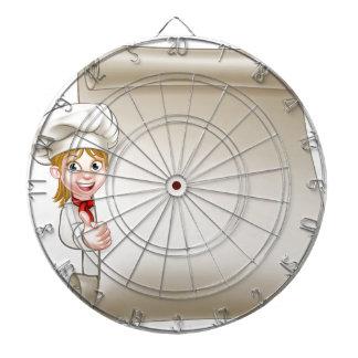 Rouleau de menu de chef de femme de bande dessinée jeux de fléchettes