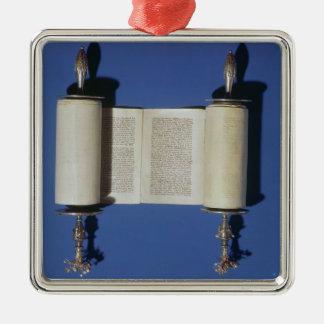 Rouleau miniature de Torah, 1765 Ornement Carré Argenté