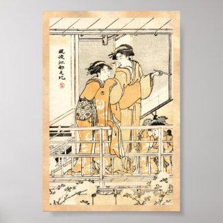 Rouleau vintage japonais frais de geishas de posters