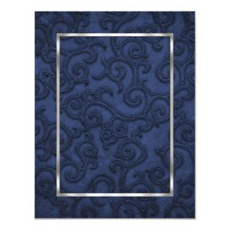 Rouleaux de relief de regard de bleu marine carton d'invitation 10,79 cm x 13,97 cm
