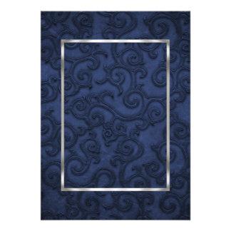 Rouleaux de relief de regard de bleu marine faire-part personnalisés