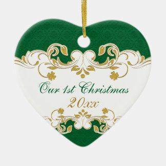 Rouleaux verts d'or blanc, ęr Noël de shamrocks Ornement Cœur En Céramique