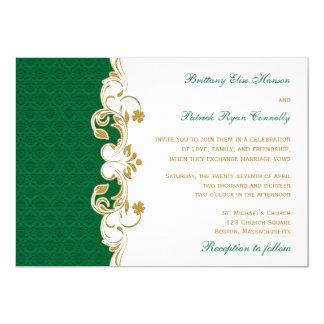 Rouleaux verts d'or blanc, shamrocks épousant carton d'invitation  12,7 cm x 17,78 cm