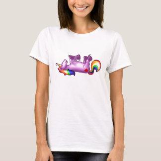 Roulement de licorne sur rire de plancher t-shirt