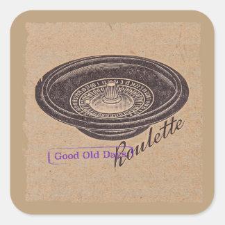 roulette vintage sticker carré