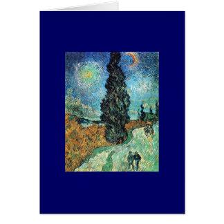 Route avec Cypress et étoile Carte De Vœux