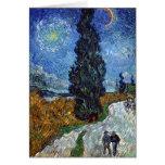 Route de campagne de Van Gogh en Provence par nuit Carte De Vœux