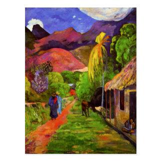 Route de Gauguin en carte postale du Tahiti